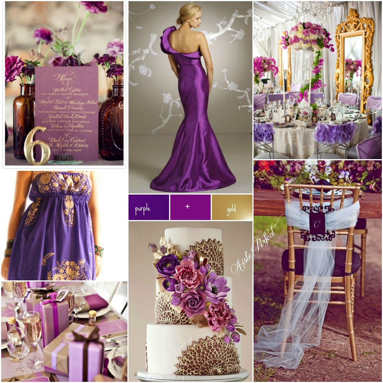 purple gold purple and gold wedding