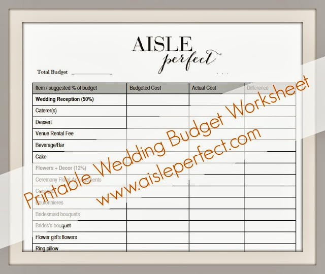 Wedding Budget Worksheet Printable: Printable Wedding Budget Worksheet