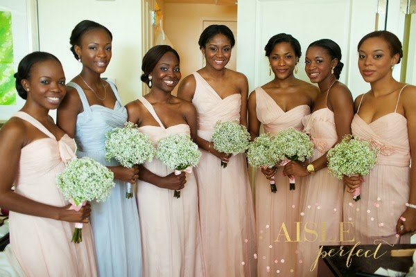 blush and blue bridesmaid dresses by amsale