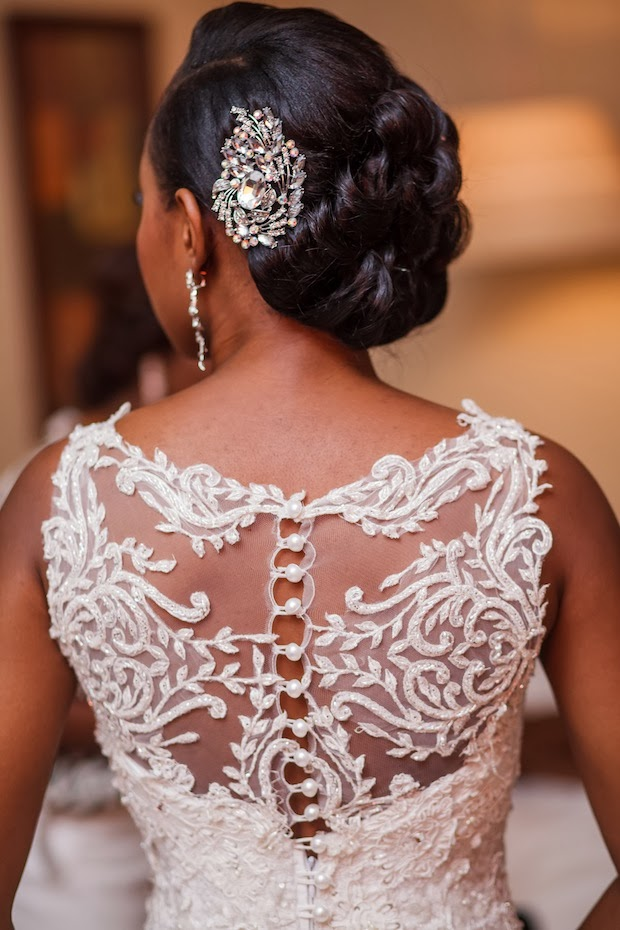 side part bridal hair for black women