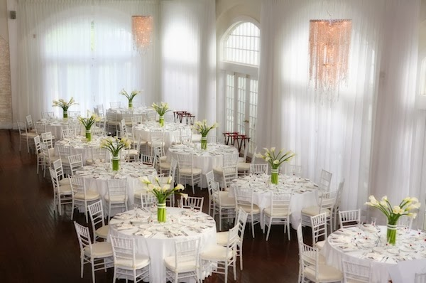 All white reception at belle mer