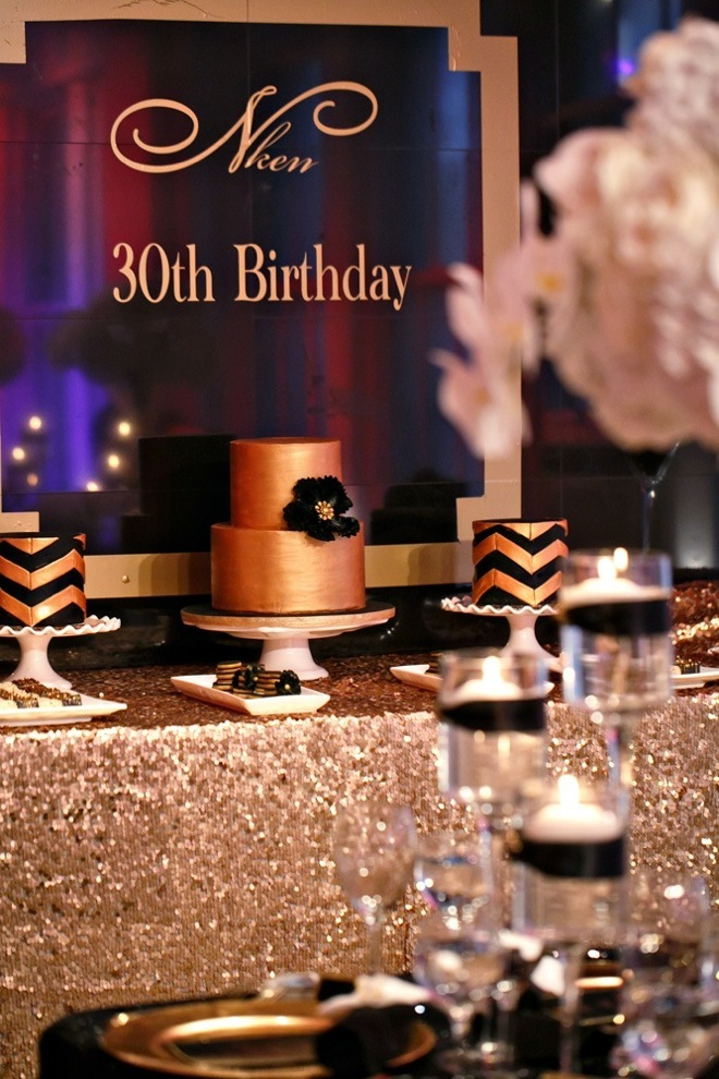 Black and gold party inspiration aisle perfect for 30th birthday party decoration