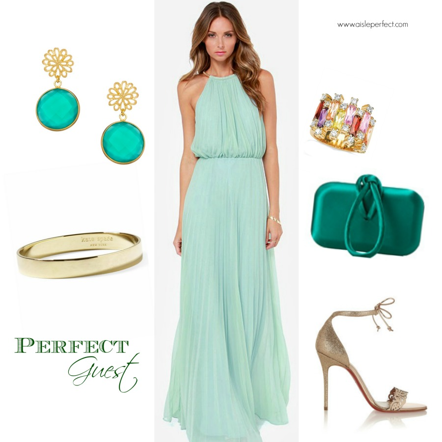 Wedding Guest Dress: Mint Maxi Dress - Aisle Perfect