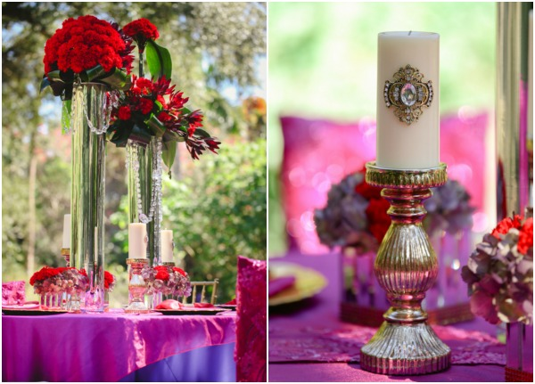 Red Purple and Gold Setting
