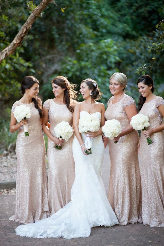 332e3af809 ... Sequin Rose Gold Bridesmaids Geoff Duncan Photography via Wedding Party  · Tealily Photography via Style Me Pretty