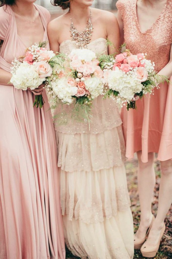 Pink and Rose Gold Bridesmaids