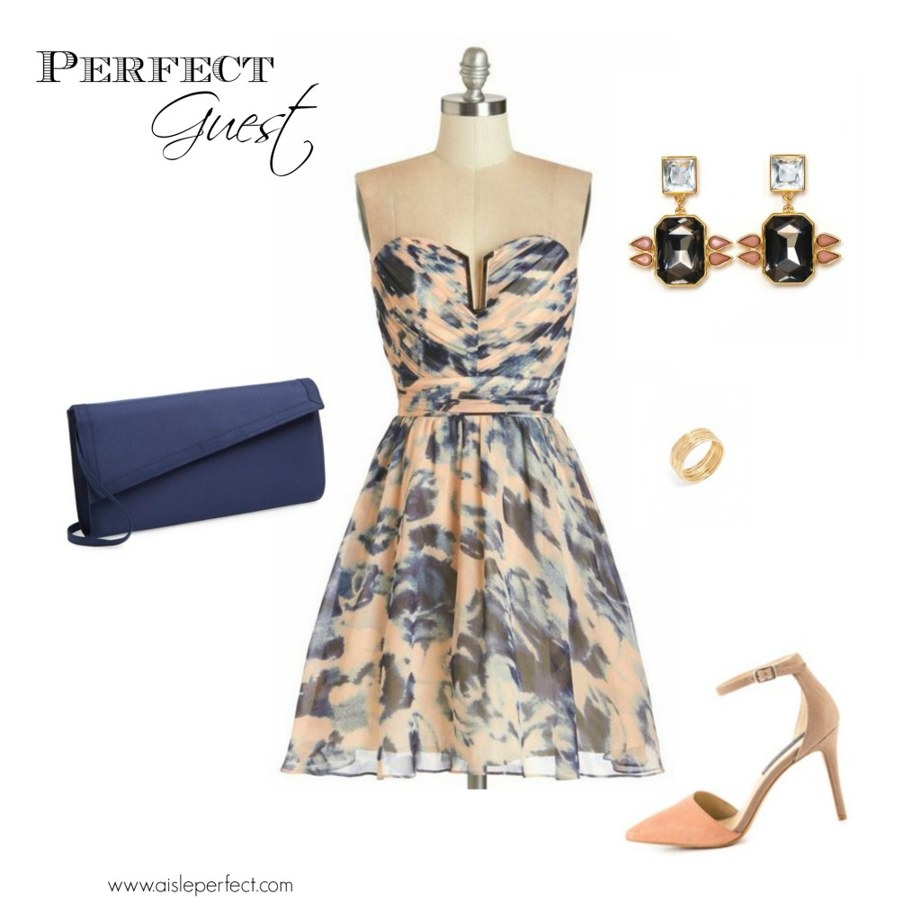 Peach and Navy Wedding Guest Outfit