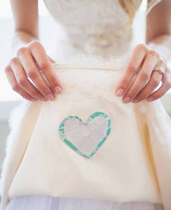 Sew a Piece of Clothing onto your wedding dress