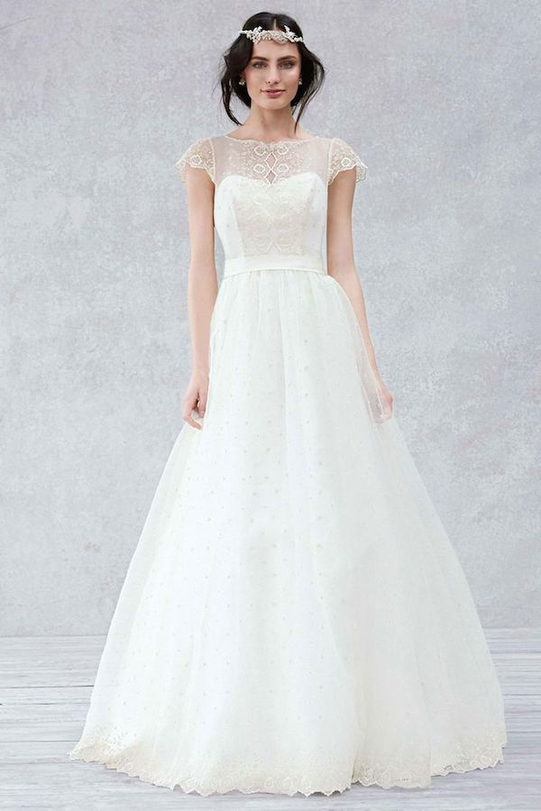 GALINA Cap Sleeve Gown with Scalloped Detail Bodice Style KP3657