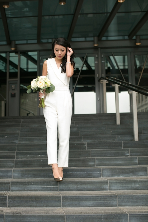White Wedding Jumpsuit for City Hall