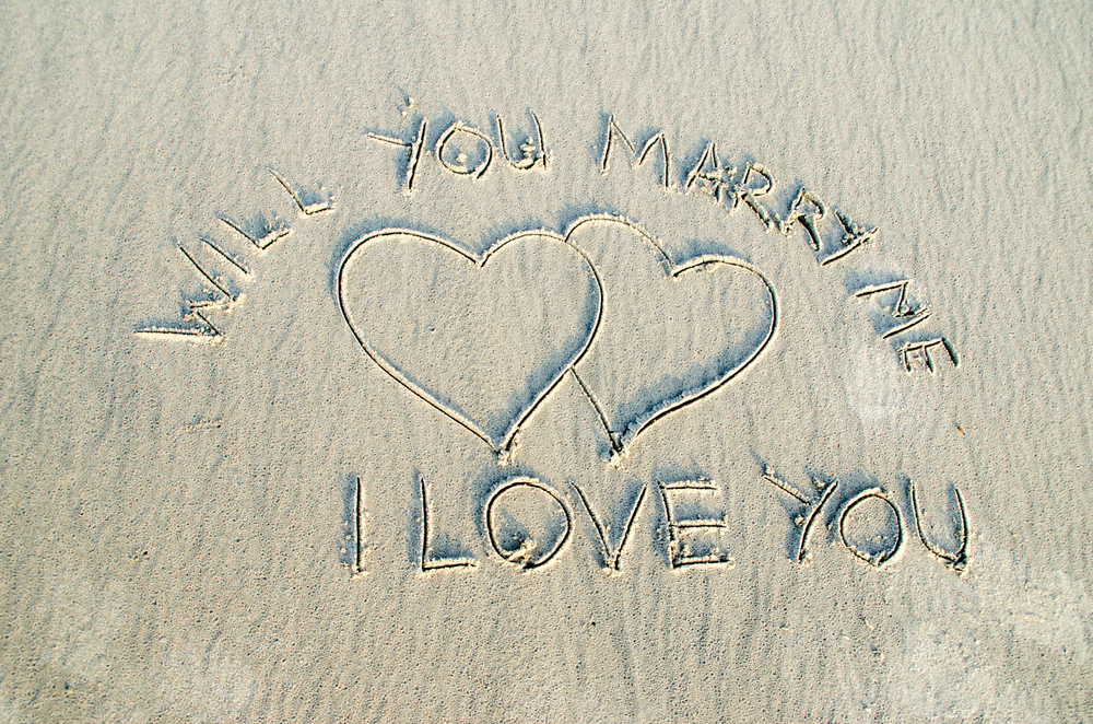 Marry Me Script in Sand Proposal