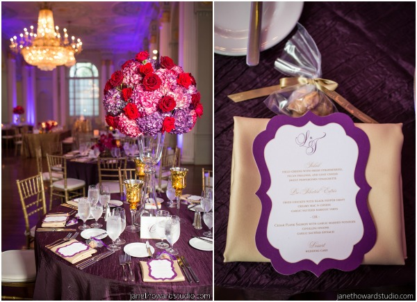 purple and gold reception