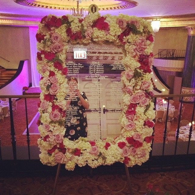 Floral Mirror Menu Wedding Decor