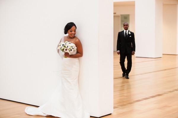 Modern Black and White Museum Wedding 22