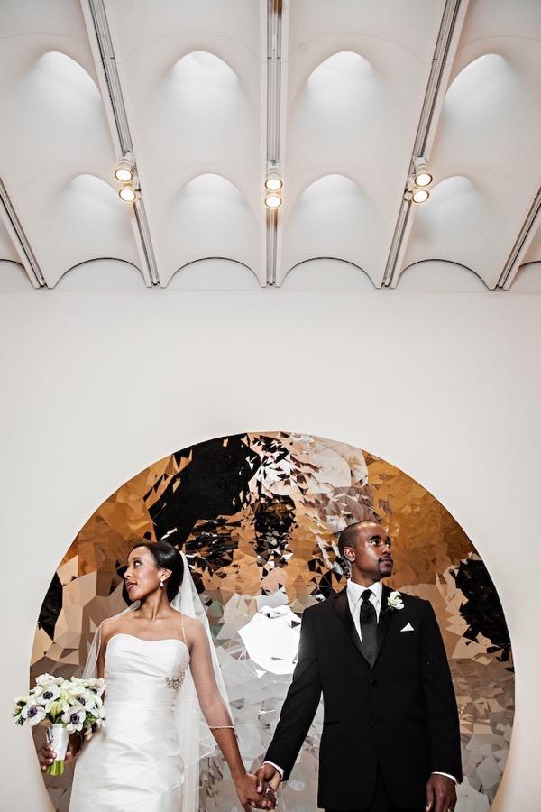 Modern Black and White Museum Wedding 43