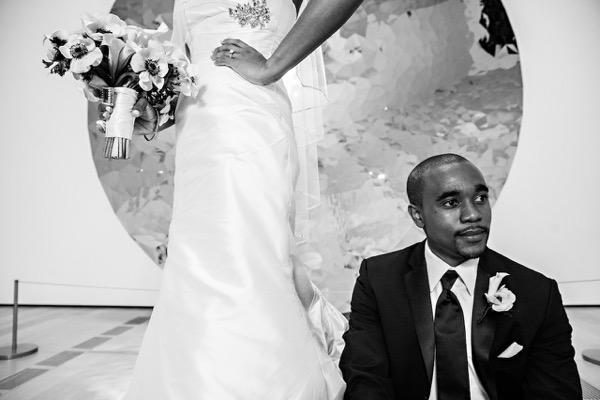 Modern Black and White Museum Wedding 44