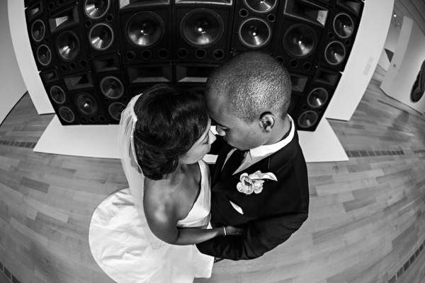 Modern Black and White Museum Wedding 47