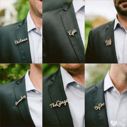 Custom Pins for the Groomsmen | Image by Jules Morgan Photography