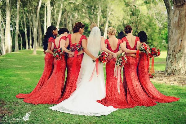 Red sequin bridesmaids