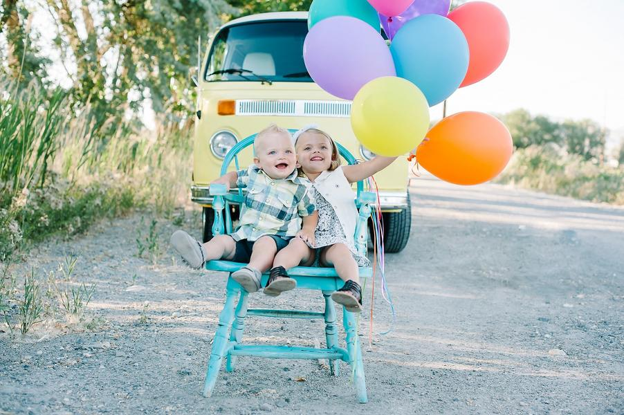 Colorful VW Bus Family Session 4