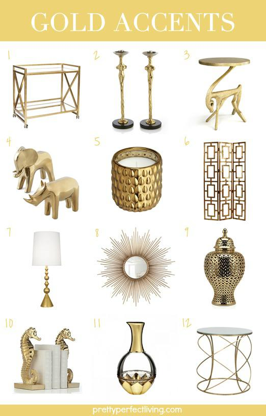 Home decor gold accents aisle perfect for Gold home decorations
