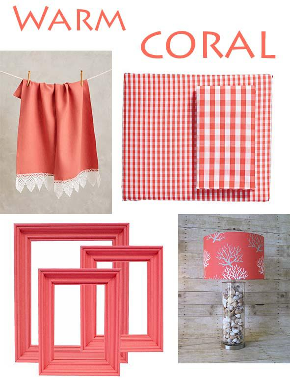 Lace Trimmed Hand Towel from Anthropologie $68, Gingham Sheet Set by Serena & Lily via One Kings Lane $126, Coral Photo Frame Set by Mountain Cove Antiques via Etsy $59, and Coral Drum Lampshade by SweetDreamShades via Etsy $70