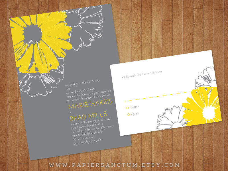 Daisy Yellow and Grey Wedding Invitation Set