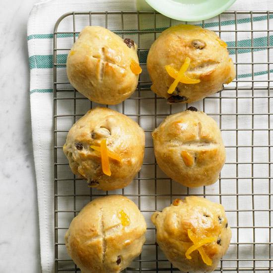 I love the use of springy apricots to update traditional hot cross buns.
