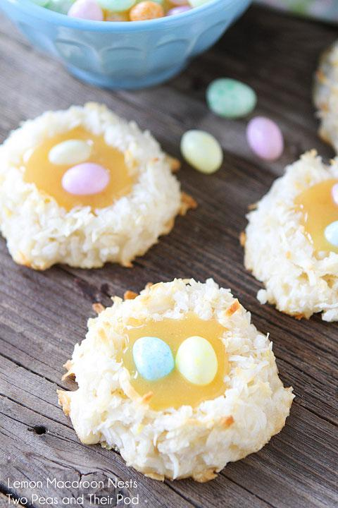 Macaroons with lemon curd and jelly bean eggs? Sign us up!