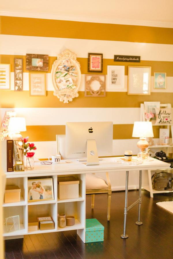 Gold and Polka Dot Home Office 4
