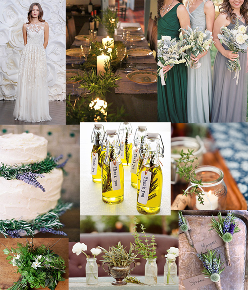 Personalize your earthy and organic wedding with affordable herbs instead of flowers!