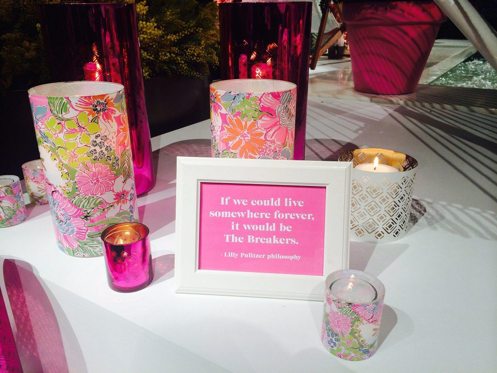 Framed quote and housewares display at the Lilly Pulitzer x Target launch party in NYC. Photo Courtesy of Target.