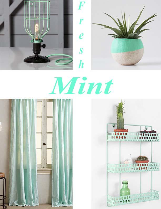 Industrial Desk Lamp by IndLights via Etsy $89, Mint Air Plant Pod and Plant by BirdandFeatherCo. via Etsy $14, Linen Balsas Curtains $139 from Anthropologie, and Triple Decker Shelf from Urban Outfitters $34