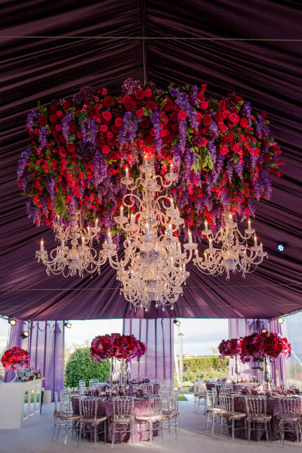White Lilac Inc Hanging Red and Purple Floral Chandelier