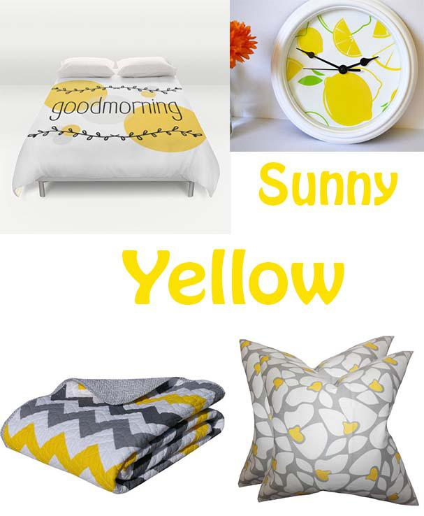 Good Morning Duvet Cover Monochrome Studio via Etsy $119, Lemon Wall Clock by Maple Street Market via Etsy $30, Vida Throw Joss and Main $31.95 and Daisy Pillow Set Joss and Main $47.90