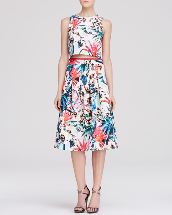 Nicole Miller Botanical Print Crop Top $220 and Skirt  $295 at Bloomingdale's.