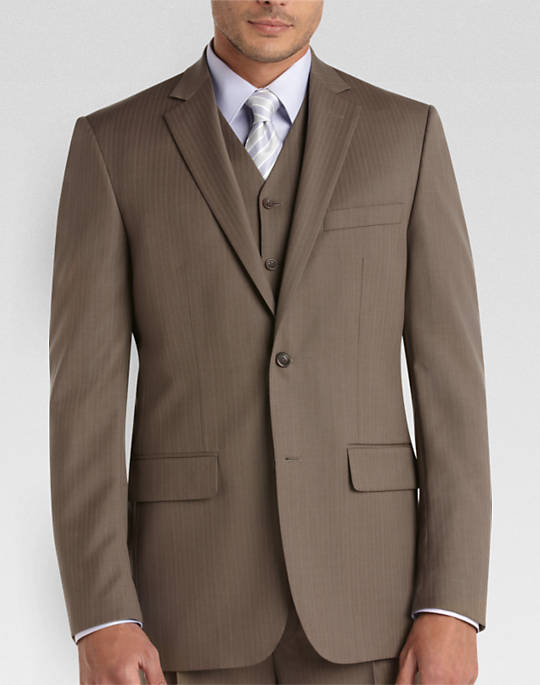 Joesph & Feiss Taupe on Taupe Pinstripe Suit at Men's Wearhouse.