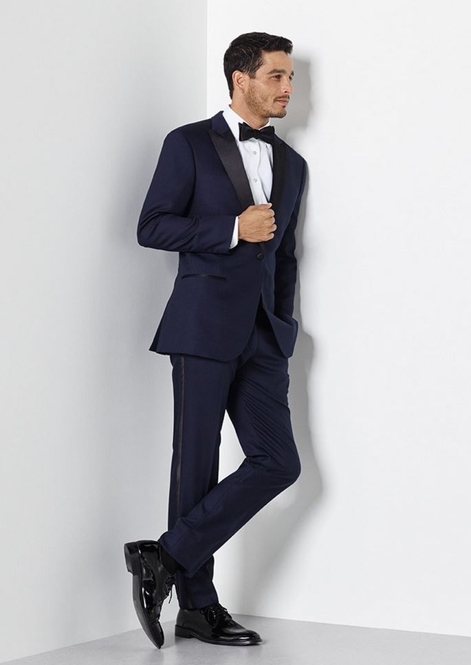 Midnight Blue Satin Lapel Tuxedo from The Black Tux.