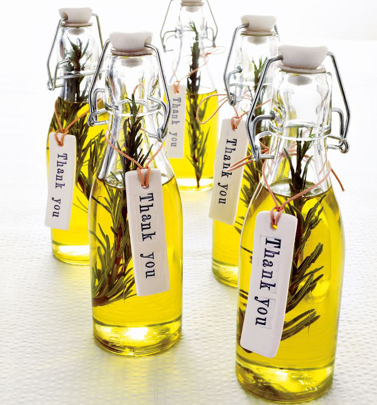 DIY Rosemary infused olive oil favors. Photo by Nato Welton, styling ...