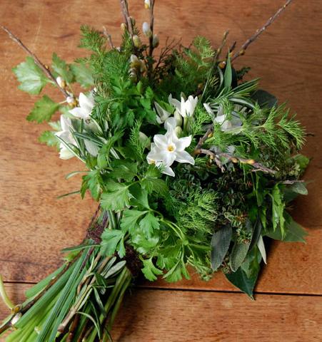 Winter herb bouquet by Design Sponge.