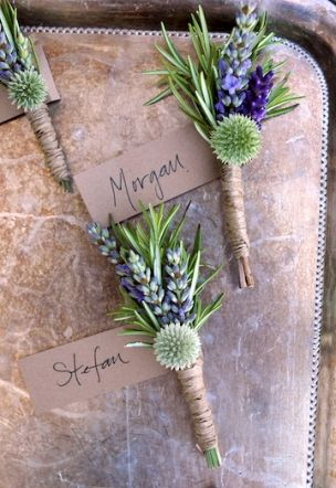 Twine wrapped rosemary and lavender boutonnieres by Clare Day Flowers, Victoria BC.