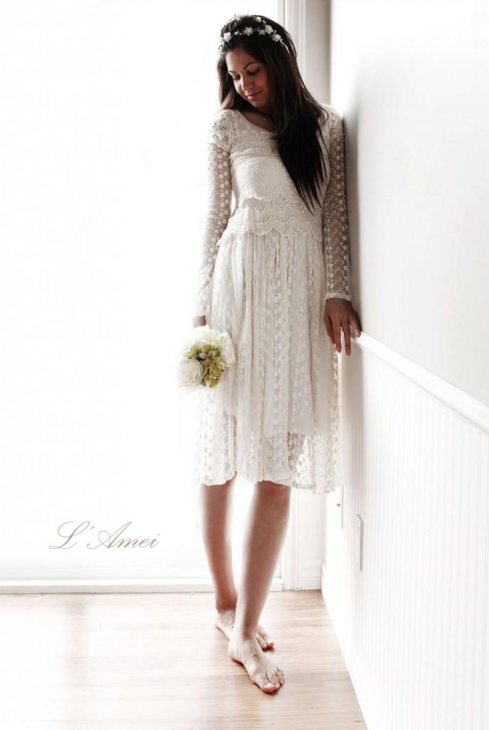 Bohmeian short wedding dress