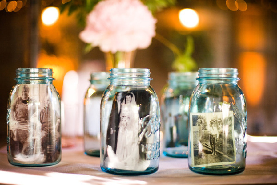 Memory Table Ideas mason jar memory table Mason Jar Memory Table