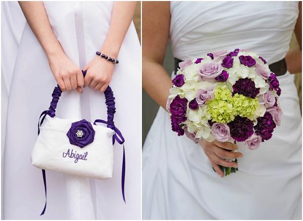 Purple and white wedding at pure sugar studios