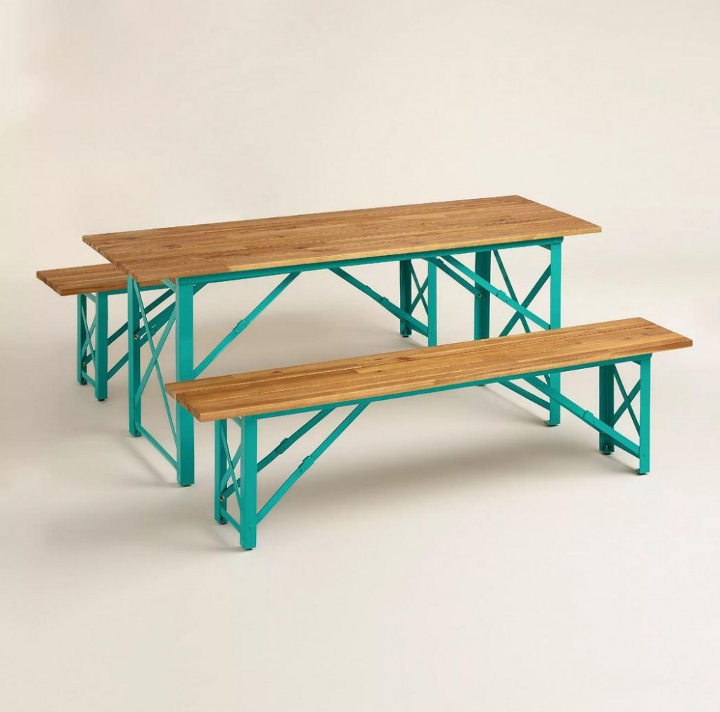 Blue Beer Garden Dining Table, $229.99 and Benches, $139.99 each at World Market
