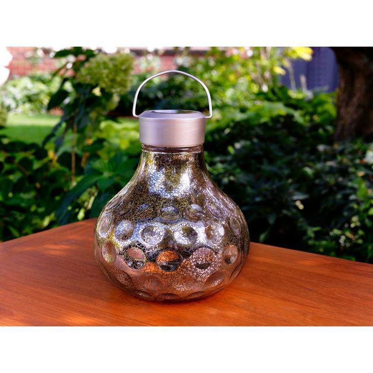 Vintage Silver Art Glass Large Table Top Solar LED Lantern, $19.97 at The Home Depot