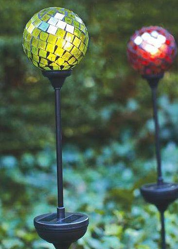 Hampton Bay Mosaic Multi-Colored Outdoor LED Solar Gazing Globe Set, $39.97 at The Home Depot