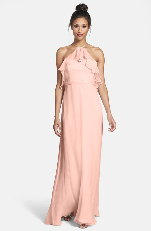 Amsale halter bridesmaid dress