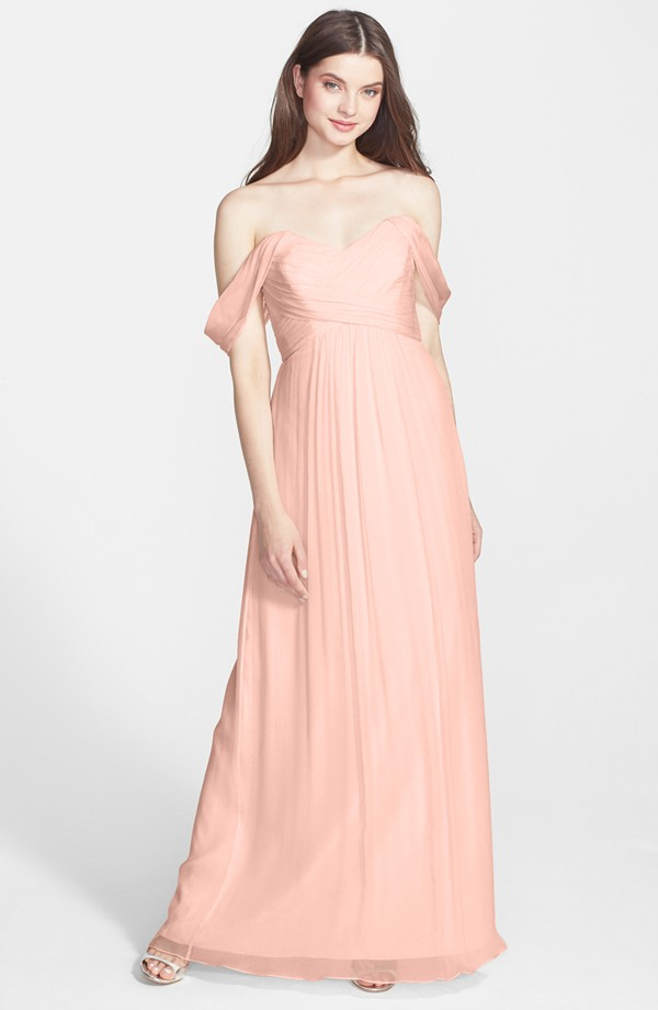 Amsale off shoulder bridesmaid gown