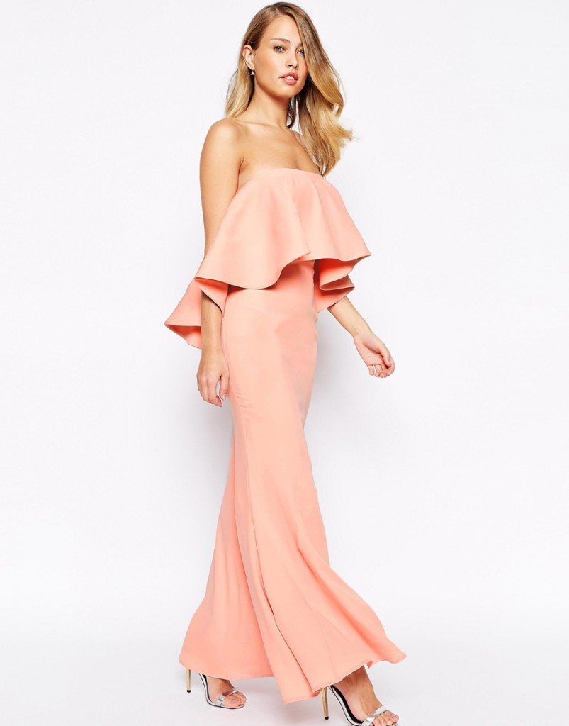 Pink Off Shoulder Bridesmaid Dress